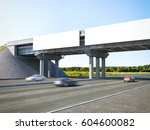 two blank highway billboards on ... | Shutterstock . vector #604600082