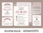 vintage wedding invitation... | Shutterstock .eps vector #604602092