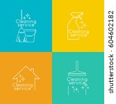 set logo cleaning service with... | Shutterstock .eps vector #604602182