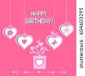 happy birthday card.... | Shutterstock .eps vector #604603295