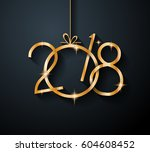 2018 happy new year background... | Shutterstock .eps vector #604608452