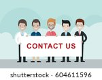 cartoon businessmen  holding...   Shutterstock .eps vector #604611596