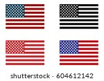 usa flag. set of american flag   Shutterstock .eps vector #604612142