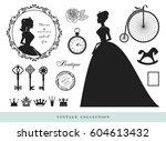 vintage silhouettes set.... | Shutterstock .eps vector #604613432