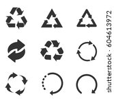 recycle icon set black on white ... | Shutterstock .eps vector #604613972