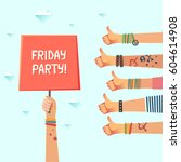 youth friday party. lots of... | Shutterstock .eps vector #604614908