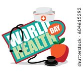 world health day apple  nurse...   Shutterstock .eps vector #604615292