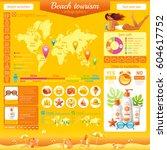 summer beach travel icon set... | Shutterstock .eps vector #604617752