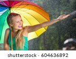 Girl With Rainbow Umbrella...