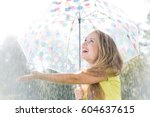 Girl With Umbrella Catching...