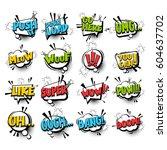 big set comic font bubble... | Shutterstock .eps vector #604637702