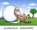 illustration of a senior old ... | Shutterstock .eps vector #604642892