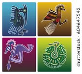 set of vector birds on colorful ... | Shutterstock .eps vector #604647542