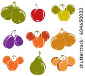 set of colorful different... | Shutterstock .eps vector #604650032