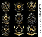 vintage decorative heraldic... | Shutterstock .eps vector #604650092