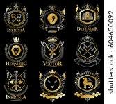 vintage decorative heraldic...   Shutterstock .eps vector #604650092