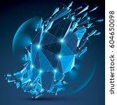 3d vector clear blue digital...   Shutterstock .eps vector #604650098
