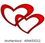2d illustration of red hearts  | Shutterstock . vector #604653212