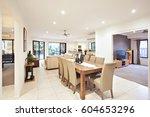 living room near dining area ... | Shutterstock . vector #604653296