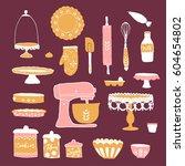vector baking utensils... | Shutterstock .eps vector #604654802