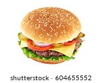 classic cheeseburger isolated... | Shutterstock . vector #604655552