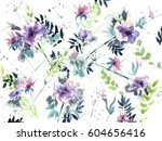 Stock photo watercolor abstract floral pattern 604656416