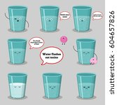 set of glasses with water cup... | Shutterstock .eps vector #604657826