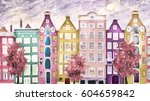 oil painting on canvas  street... | Shutterstock . vector #604659842