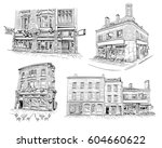 set of facades of london... | Shutterstock .eps vector #604660622