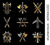 vintage weapon emblems set.... | Shutterstock .eps vector #604661102
