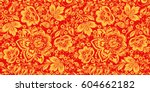 Hohloma in red and gold colors seamless pattern vector. Russian traditional decoration design.