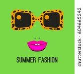 logo fashion sunglasses. emoji... | Shutterstock .eps vector #604665242