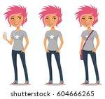 cute cartoon girl with pink...   Shutterstock .eps vector #604666265