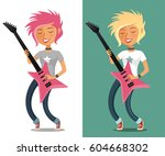 funny cartoon teenage girl... | Shutterstock .eps vector #604668302