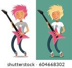 funny cartoon teenage girl... | Shutterstock .eps vector #604668302