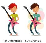 cool cartoon girl playing guitar | Shutterstock .eps vector #604670498