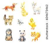 set of watercolor baby animals... | Shutterstock . vector #604673462