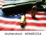 American Flag With Bullets  ...