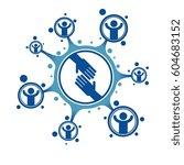 social relations conceptual... | Shutterstock .eps vector #604683152