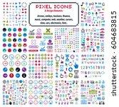 vector flat 8 bit icons ... | Shutterstock .eps vector #604683815
