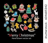 merry christmas set.fashion... | Shutterstock .eps vector #604685342