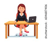 smiling relaxed business boss... | Shutterstock .eps vector #604687406