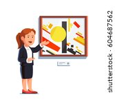 guide  critic  or museum worker ... | Shutterstock .eps vector #604687562