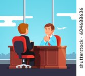 new employee   boss meeting.... | Shutterstock .eps vector #604688636