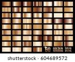 set of 60 bronze colored metal... | Shutterstock .eps vector #604689572