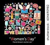 women day set.fashion patch... | Shutterstock .eps vector #604690982