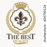 vintage emblem  vector heraldic ... | Shutterstock .eps vector #604700126