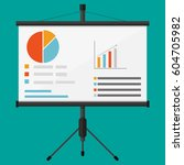 projector screen with business... | Shutterstock .eps vector #604705982