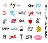 friendship stickers set of... | Shutterstock .eps vector #604710836