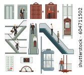 elevator and stairs set with... | Shutterstock .eps vector #604711502